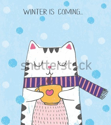 stock-vector-cute-vector-hand-drawn-illustration-with-sketch-cat-with-scarf-and-cup-of-tea-blue-background-with-341771612.jpg